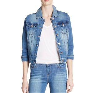 Kensie Cropped Blue Denim Jacket 3/4 Sleeve Button Up Size Small